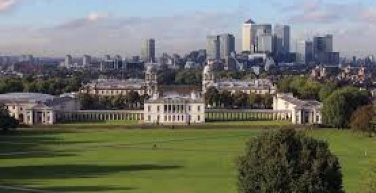 A landscape view of the Royal Naval College and Greenwich Park