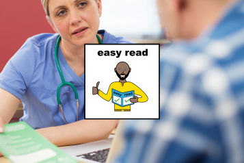 A female doctor with a patient with an Easy Read graphic