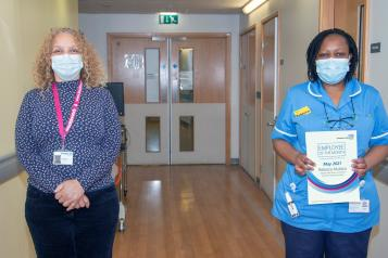Joy Beishon and winner Rebecca Mukasa from Lewisham and Greenwich NHS Trust