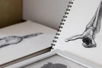 close up photograph of black and white charcoal sketches
