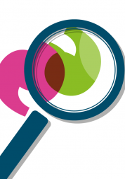 Graphic image of a magnifying glass over a green and pink quotation mark